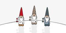 Three Cute Christmas Gnomes Wi...