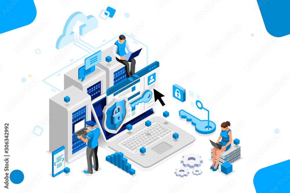 Fototapeta Online administrator, web hosting concept. Technician repair software. Hardware protection share infographic. Store safe server concept. Characters and text images, flat isometric vector illustration