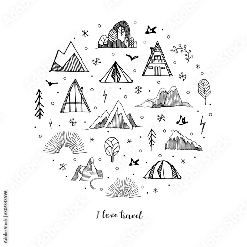 Leinwand Poster Hand drawn set of sketch mountains,tents,trees,clouds