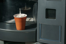 Coffee From A Vending Machine In A Plastic Cup