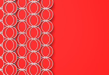 3d Rendering. Red Circular Line Shape Pattern Design Wall Background.