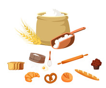 Food And Baking Tools Vector Illustrations Set