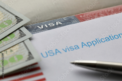 USA visa application paper form Wallpaper Mural