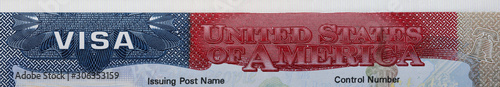 Fotografie, Obraz Panoramic view of USA visa stamp headline