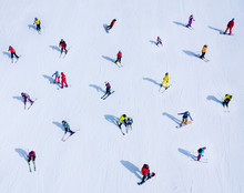 Background Of Many Skiers And Snowboarders. Winter Sports