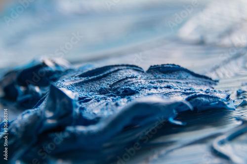 Photo Blaue Ölfarbe auf Palette