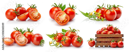 Fototapeta Set tomato in cut with green leaves and flowers. Collection vegetable still life for packing. Isolated on white background. obraz