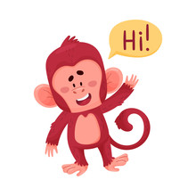 Funny Little Red Monkey Saying...
