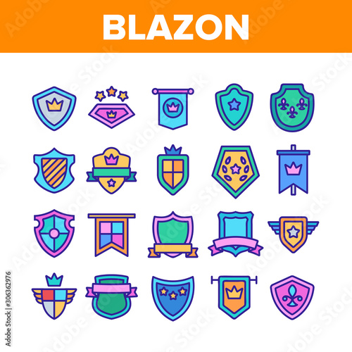 Blazon Shield Shapes Collection Icons Set Vector Thin Line Canvas Print