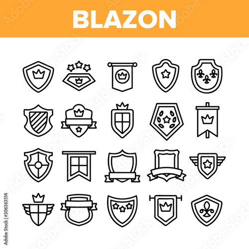 Photo Blazon Shield Shapes Collection Icons Set Vector Thin Line