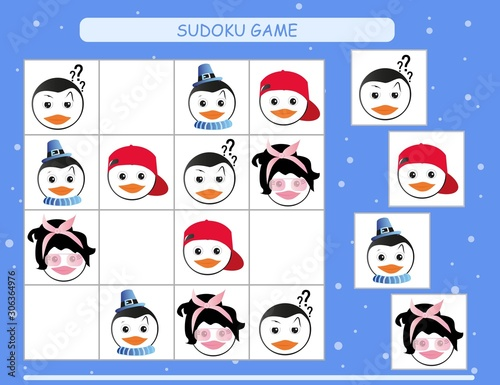 Sudoku for kids. Kids activity sheet. Training logic, educational game. Sudoku game with funny penguin.
