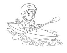 Coloring Page With Boy Canoeing, Extreme Kayaking