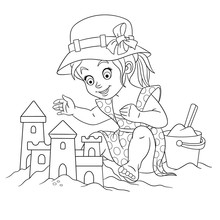 Coloring Page With Girl Building Sand Castle