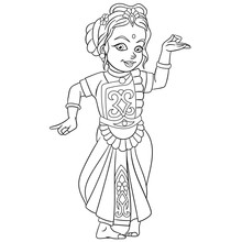 Coloring Page With Indian Danc...