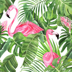 Fototapeta Do jadalni Jungle isolated seamless pattern with tropical leaves, palm monster banana, flamingo on an isolated white background. Fabric wallpaper print texture. Stock illustration.