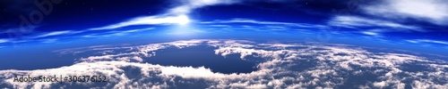 Photo Heaven, panorama of the cloud, flying in the clouds, the earth from orbit
