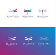 Set Of Dragonfly Tech Logo .Digital Dragonfly Logo . Tech Dragonfly Logo Icon Design Vector