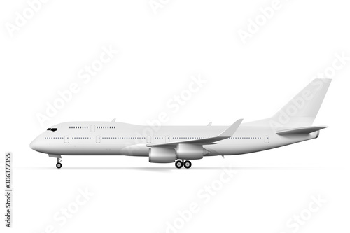 Blank White Airplane Or Airliner Side View Canvas Print