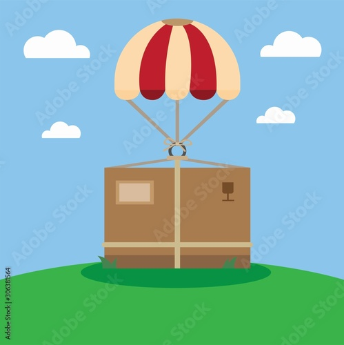 Photo airdrop package delivery in flat illustration vector