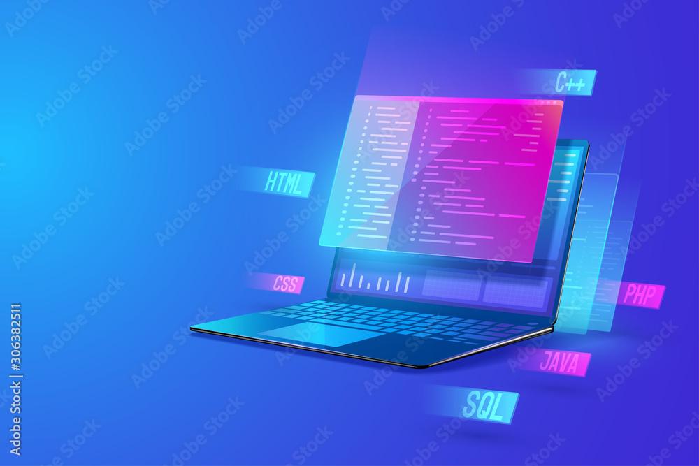 Fototapeta Software development programming, program coding, processing of programming languages on laptop concept. web development and data processing Isometric vector illustration.
