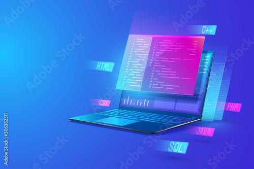 Cuadros en Lienzo Software development programming, program coding, processing of programming languages on laptop concept