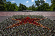 Russia, Karelia, Petrozavodsk, Near Wladimir Iljitsch Lenin Monument: Red Flowers Form Colorful Red Star And Eternal Flame As Part Of The Monument To Soldiers Of The Great Patriotic War.