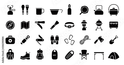 Canvas Print Camping and Outdoor Gear Icon Set (Flat Silhouette Version)
