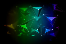 The Abstract Background Constructed By Dot And Line Links And Colorful Triangular Tetrahedron