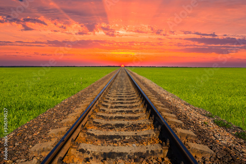 Foto auf AluDibond Koralle railway among green fileds leaving far to a dramatic sunset