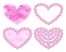 Sat Of Watercolor Pink Hearts ...