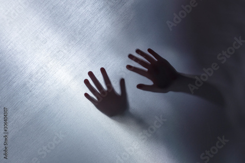 the cloth. close-up. hands behind the fabric they flicker Wallpaper Mural