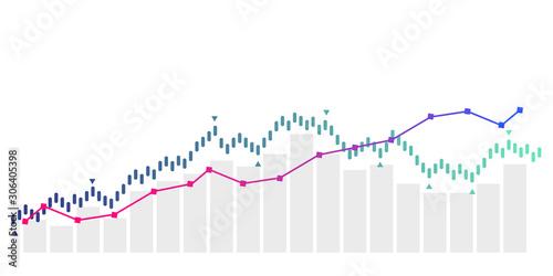 grafico economia, istogrammi, statistiche Canvas Print
