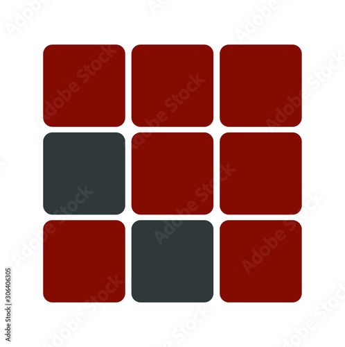Simple combined box with red color for logo design inspiration - Vector Wallpaper Mural