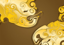Abstract Mystical Golden Swirl Pattern For Graphic Design Background. Vector Illustration.