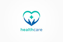 Healthcare Icon Medical Pharmacy Logo. Heart And Hand With Cross Sign Inside. Vector Logo Design Template Element