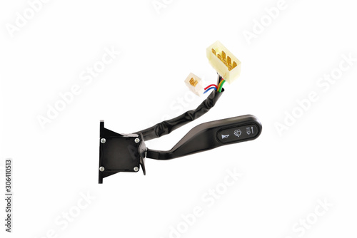 Valokuvatapetti car parts, turn signal switch with wires and connectors, white background, isola