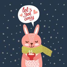 Christmas Card With Cute Rabbit Vector Illustration