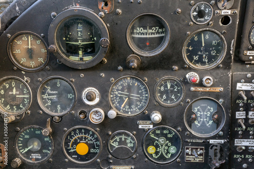 Cockpit of an old russian plane Canvas Print