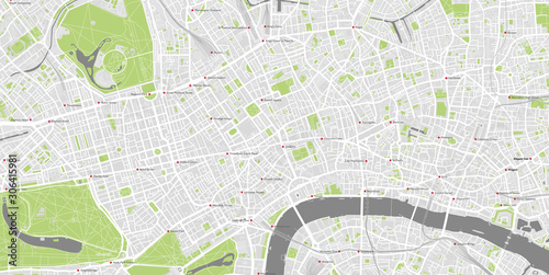 Detailed map of central London, UK with labelled tube stations Canvas Print