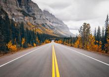 Epic Autumn Highway Road Through Wilderness Mountains Ice Fields Parkway Banff Alberta Canada