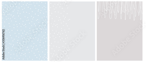 Fototapeta Simple Seamless Dotted Vector Pattern and 2 Layouts. Print with White Irregular Dots on a Light Blue Background. Layouts with White Hand Drawn Childish Style Scribbles and Tiny Dots on a Gray. obraz na płótnie