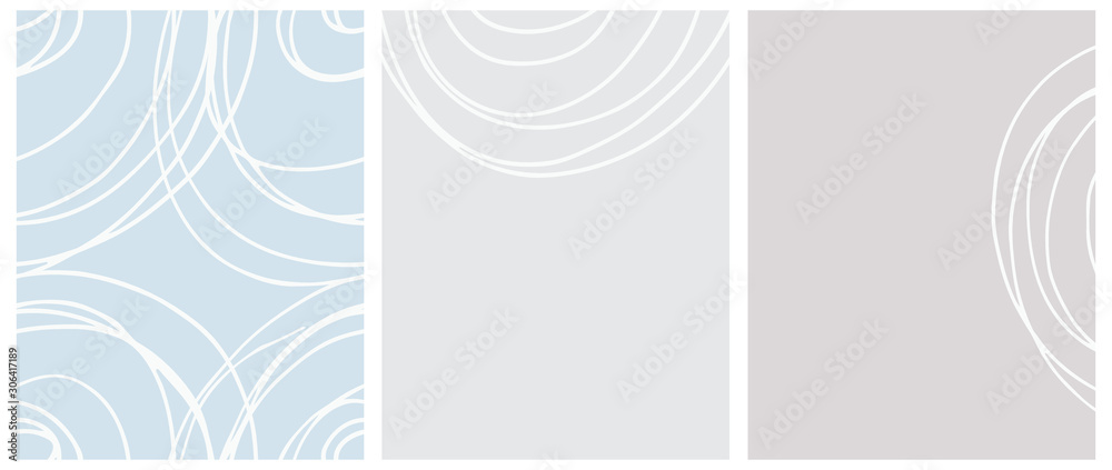 Fototapeta Cute Seamless Geometric Vector Pattern and Layouts. White Free Hand Lines Isolated on a Light Blue and Gray Background. Simple Abstract Vector Prints Ideal for Layout, Cover.