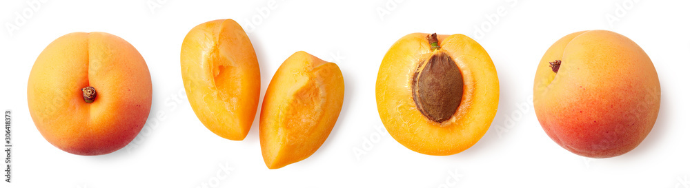 Fototapety, obrazy: Fresh ripe whole, half and sliced apricot