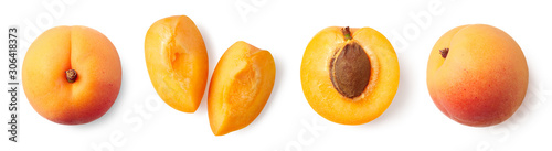 Foto Fresh ripe whole, half and sliced apricot