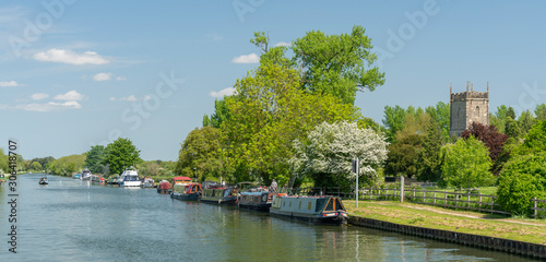 View of the Sharpness - Gloucester canal with St Mary the Virgin Church in the b Slika na platnu