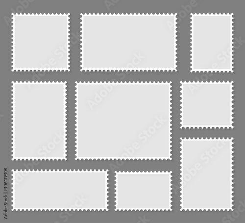Canvastavla Blank set postage stamps collection. Vector illustration