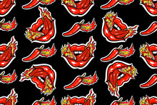 Seamless Pattern Mouth With Sticking Out Tongue, Fire And Red Pepper