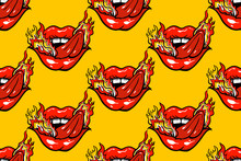 Seamless Pattern Mouth With Sticking Out Tongue And Fire