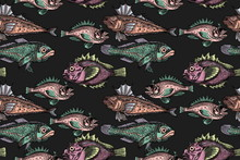 Seamless Pattern With Fishes, Hand-drawn Fishes