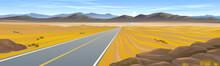 A Highway Across The Hot Desert Landscape